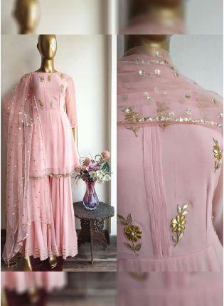 Baby Pink Color Party Wear Designer Georgette Base Salwar Kameez Suit