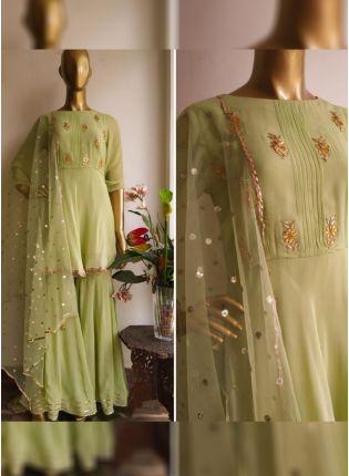 Pista Green Color Party Wear Designer Georgette Base Salwar Kameez Suit