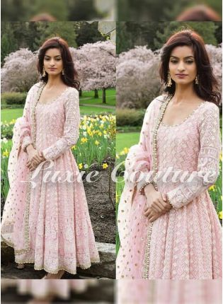 Blush Pink Color Party Wear Heavy Thread Work Anarkali Suit