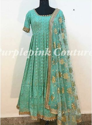 Firozi Color Party Wear Heavy Thread Work Anarkali Suit