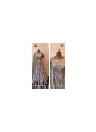 Designer Grey Color Party Wear Soft Net Base Sequins Work Gown