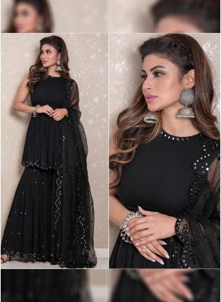Black Color Party Wear Georgette Base Designer Sharara Suit