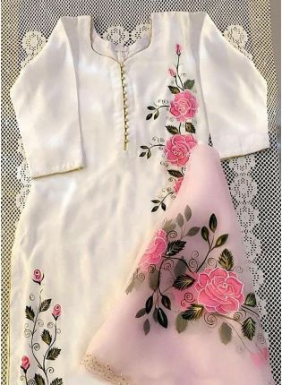 Duck White Color Party Wear Designer Salwar Kameez Suit
