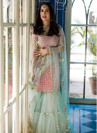 Party Wear Pink Color Raw Silk Base Designer Sharara Suit