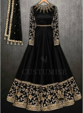 Black Party Wear Embroidery Work Anarkali Suit