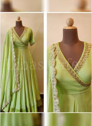 Pista Green Party Wear Georgette Base Embroidery Work Salwar Kameez