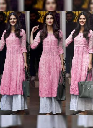 Pink Color Designer Georgette Base Party Wear Palazzo Suit