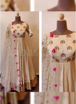 Designer Beige Color Raw Silk Base Party Wear Beige Color Anarkali Suit