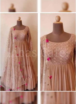 Admirable Peach Color Georgette Salwar Kameez Suit