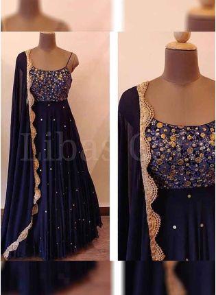 Party Wear Navy Blue Color Sequins Work Georgette Base Anarkali Suit