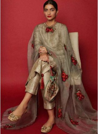 Gold Silk Straight Fit Ceremonial Salwar Suit with dupatta