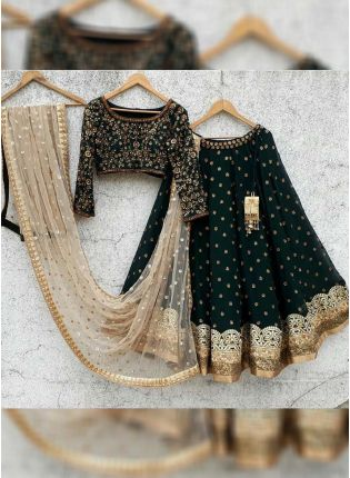 Dark Green Color Wedding Wear Designer Lehenga Choli