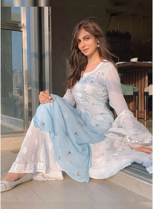 Sky Blue And White Color Thread Work Party Wear Palazzo Suit