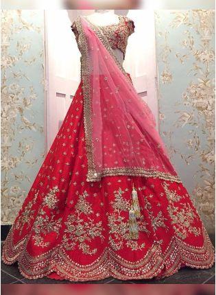 Red Dori Sequin Raw Silk Panelled Bridal Lehenga Choli