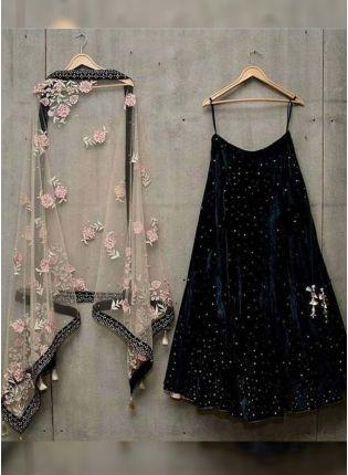 Black Color Velvet Base Designer Lehenga Choli