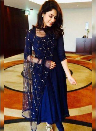 Navy Blue Color Party Wear Designer Georgette Base Salwaer Kameez Suit