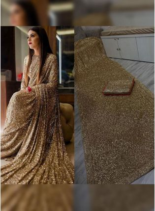 Lovable Beige Georgette Base Party Wear Designer Sequin Work Saree