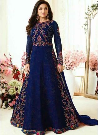 Navy Blue Heavy Embroidered Designer Salwar Kameez Suit