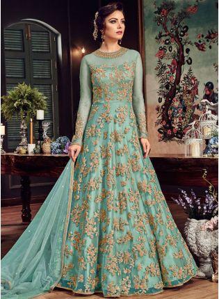 Sky blue Designer Party Wear Net Base Embroidery Work Anarkali Suit