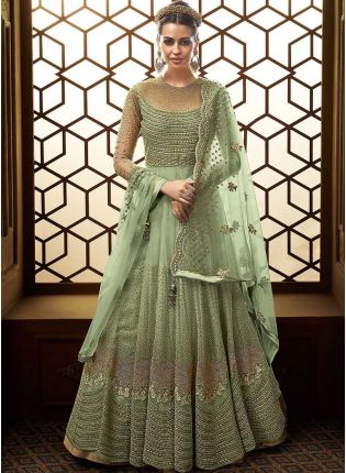 Pista Green Zari Stone Soft Net Bridal Pakistani Anarkali Suit