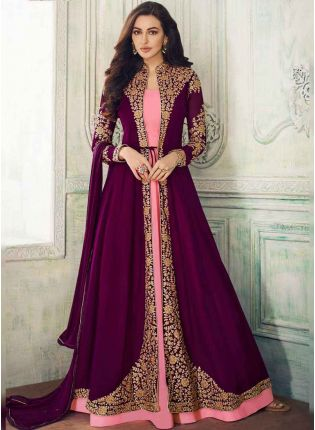 Purple Dori Georgette and Satin Jacket Style Salwar Suit