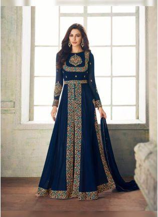 Teal Blue Zari Georgette Floor Length Anarkali Salwar Suit