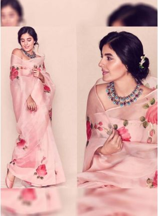 Supple Petal Yards Digital Print Elegant Peach Saree
