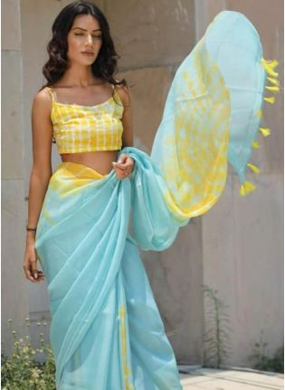 Mind-Blowing Sky Blue Cotton Silk Base Designer Saree With Tassels