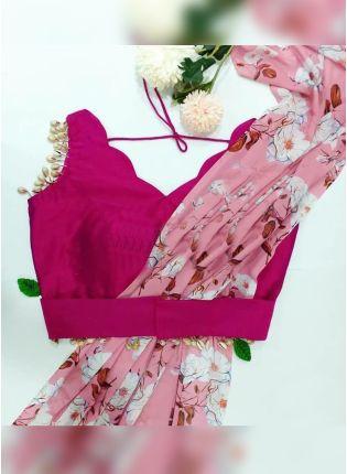 Modish Baby Pink Georgette Base Floral Digital Printed Trendy Saree