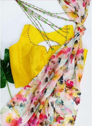 Fascinating White Colored Georgette Base Floral Digital Printed Saree