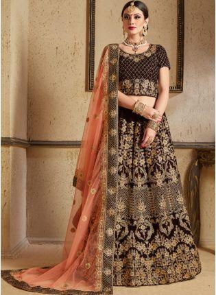Bridal Wear Maroon Color Velvet Base Embroider Lehenga Choli