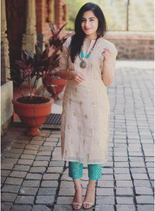 Cream Color Chanderi Silk Base Party Wear Designer Salwar Kameez Suit