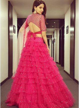 Pink Color Heavy Embroidery Work Soft Net Base Ruffle Lehenga Choli