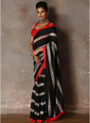 Tempting And Lovable Black Georgette Party Wear Sequin Saree