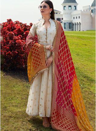 Beige Color Wedding Wear Designer Chanderi Silk Base Salwar Kameez Suit