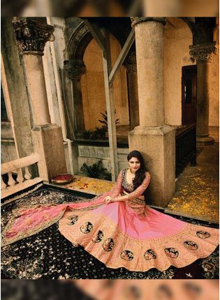 Peach Zari And Dori Silk A-Line Lehenga Choli