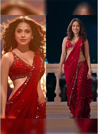 Red Color Georgette Base Heavy Sequins Work Party Wear Saree