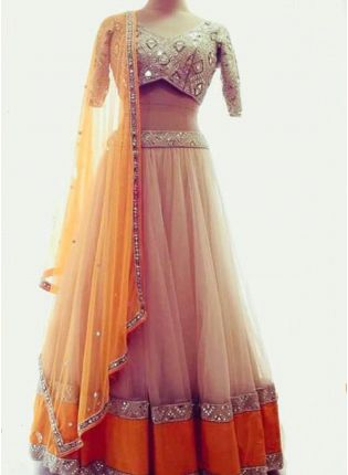 Cream Color Designer Party Wear Soft Net Base Lehenga Choli