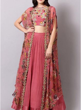 Pink Color Party Wear Georgette Base Jacket Style Lehenga Choli