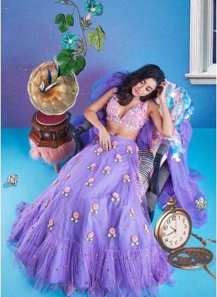 Purple Color Party Wear Soft Net Base Ruffle Lehenga Choli