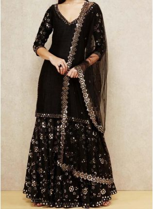 Elegant Party wear Black Georgette base designer sharara suit