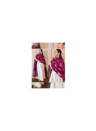 Charming White Banglori Satin Base Gown With Digital Print Dupatta