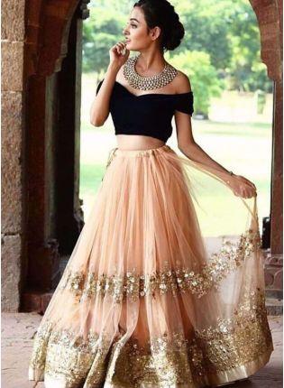 Lighat Peach Color Party Wear Net Base Designer Lehenga Choli