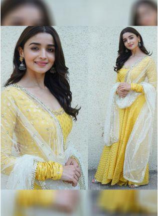 Lemon Yellow Color Designer Party Wear Salwar Kameez Suit