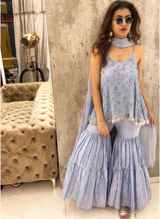 Party Wear Sky Blue Color Georgette Base Designer Sharara Suit