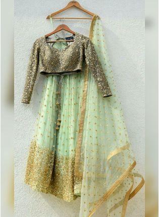 Pista Green Color Designer Net Base Sequins Work Lehenga Choli