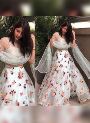 White Color Party Wear Soft Net Base Designer Lehenga Choli