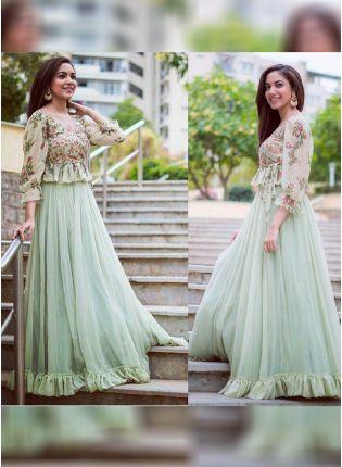 Light Pista Green Color Party Wear Designer Indowestern