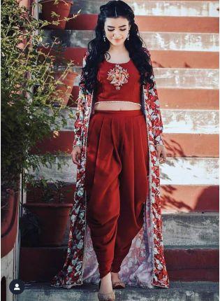 Dark Red Color Designer Party Wear Dhoti Style Salwar Suit