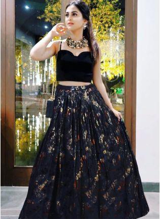 Black Color Designer Party Wear Printed Lehenga Choli